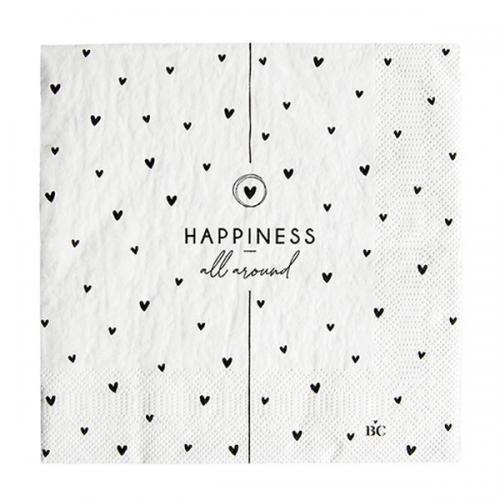 Bastion Collection Servietten White Hearts Happiness 20 Stk.