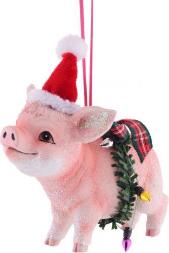 Gift Company Hänger Schwein mit Weihnachtsmütze