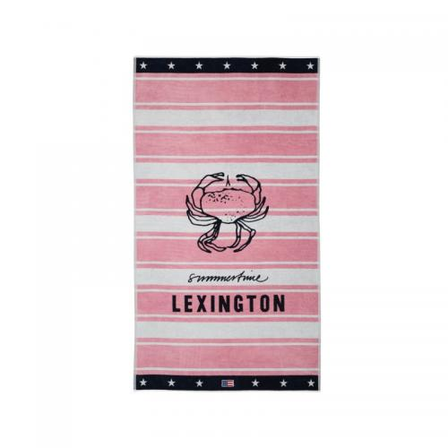 Lexington Strandtuch Beach Towel Graphic Velour Pink Crab