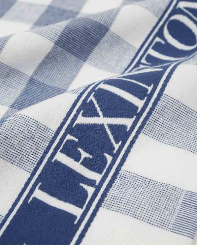 Lexington Küchentuch Icons Checked Cotton Terry Kitchen Towel Blau Weiß Close Up