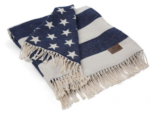 Lexington Decke Flag Throw White Navy Schick Schoen Neu Trend
