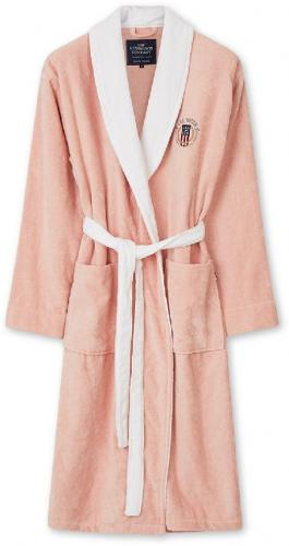 Lexington Bademantel Cotton Velour Contrast Robe Weiss Pink Bademantel Schoen Weich