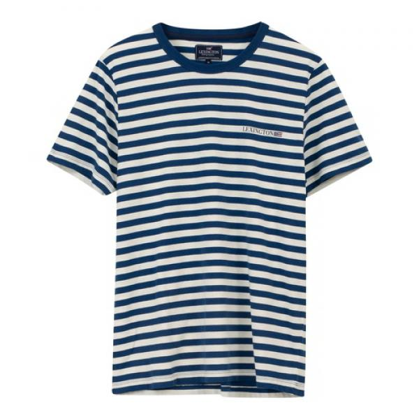 Lexington Bill Striped Tee T-Shirt Blue White Striped Vorne