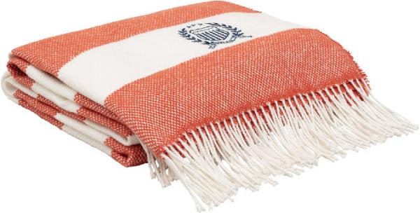 Gant Rugby Stripe Decke Sunset Orange Schoen Weich Trendig
