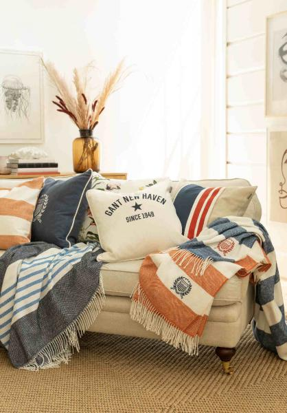 Gant Rugby Stripe Decke Sunset Orange Mood Sofa