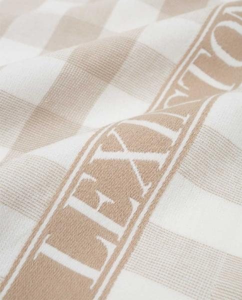 Lexington Küchentuch Icons Checked Cotton Terry Kitchen Towel Beige Weis Close Up