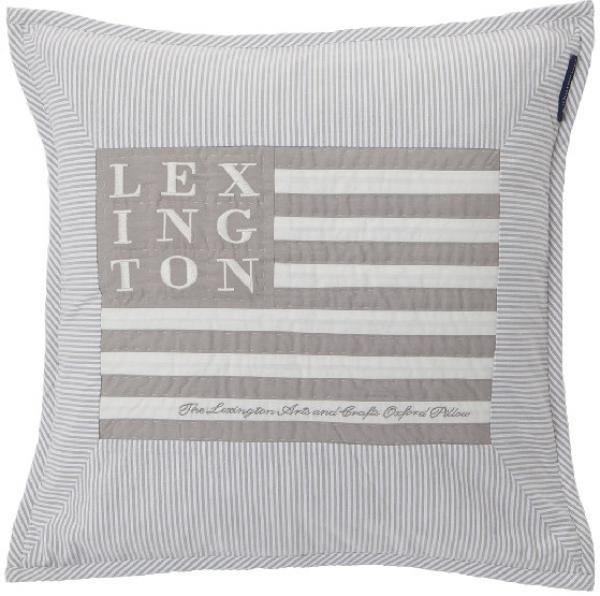 Lexington Zierkissen Logo Arts Crafts Sham Grau Weiss Trend Schick Modern