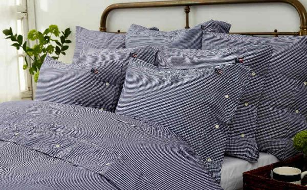 Lexington Kopfkissenbezug Seaside Navy Check Pillowcase Mood Schlafzimmer Gemuetlich